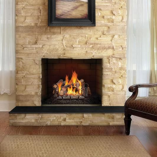 Gl18nenapoleon fireplaces 18 fiberglow natural gas log Fireplace setting ideas
