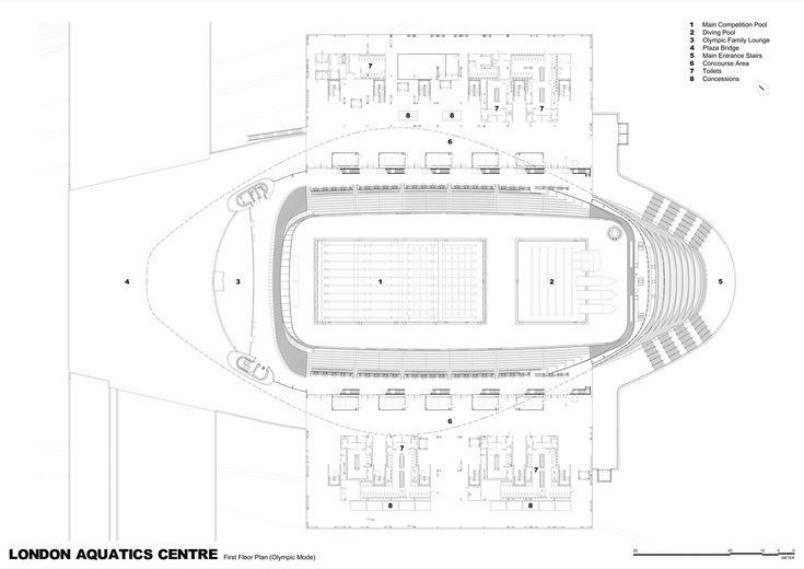 London Aquatics Centre for 2012 Summer Olympics,First Floor Plan (Olympic Mode)