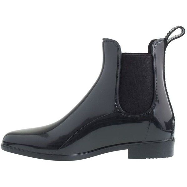 J.Crew Chelsea Rain Boots (36 CAD) ❤ liked on Polyvore featuring shoes, boots, low heel shoes, low-heel boots, j.crew boots, short heel boots and rubber boots