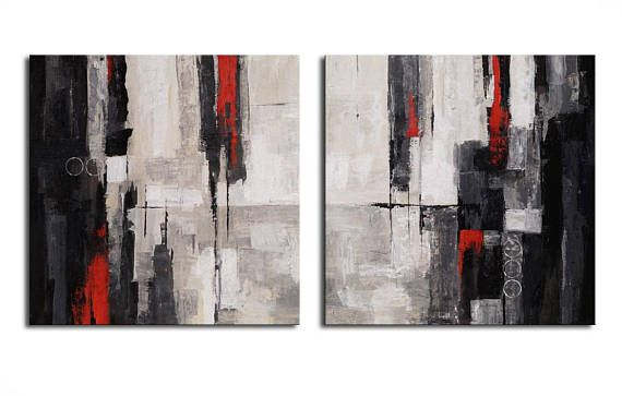 ABSTRACT PAINTING -  Modern Home Wall Decor Painting Canvas Art black red  white  abstract wall art LARGE 2x80x80 cm