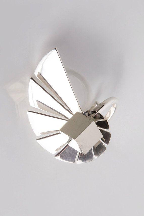 Nautilus Ring Fibonacci Spiral Sterling Silver Ring by Vangloria