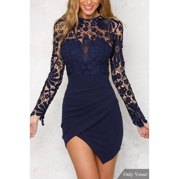 Yoins Wrap Front Irregular Hem Long Sleeves Mini Dress with Lace... ($25) ❤ liked on Polyvore featuring dresses, navy, navy blue dress, bodycon mini dress, long sleeve lace dress, bodycon dress and blue bodycon dress