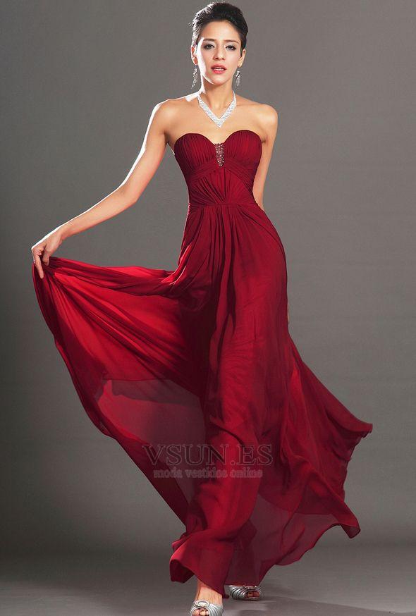 Vestido de noche Sin tirantes Pera Imperio Natural Cremallera Rojo Oscuro