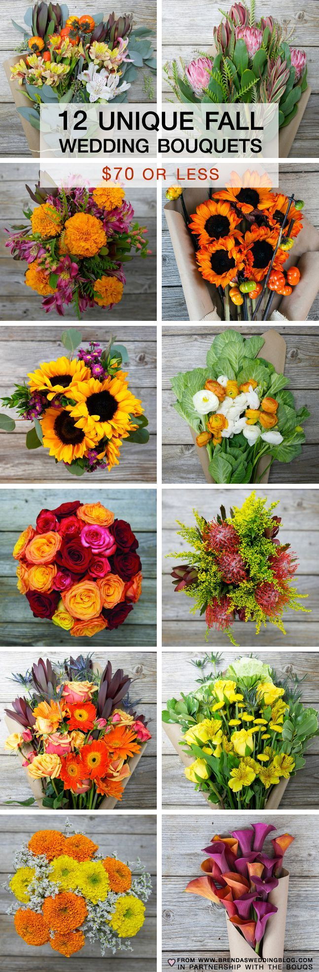 12 Unique Fall Wedding Bouquets {priced between $40 - $70}