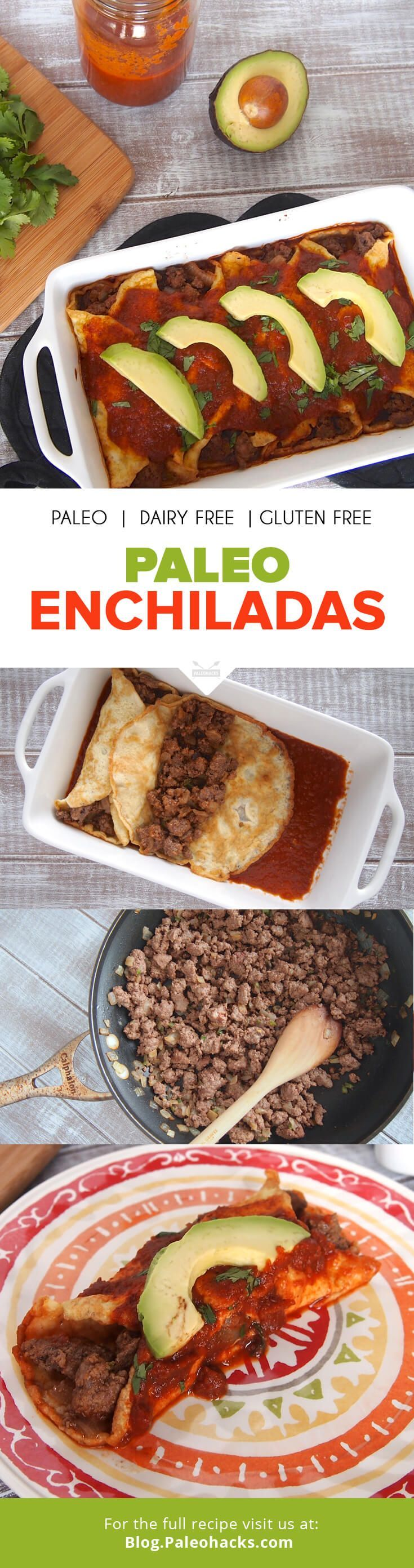 Mexican food may seem a bit out of reach on the Paleo diet, but this Paleo Enchiladas recipe uses grain-free tortillas to recreate an all time favorite. For the full recipe visit us here: paleo.co/... #paleohacks #paleo