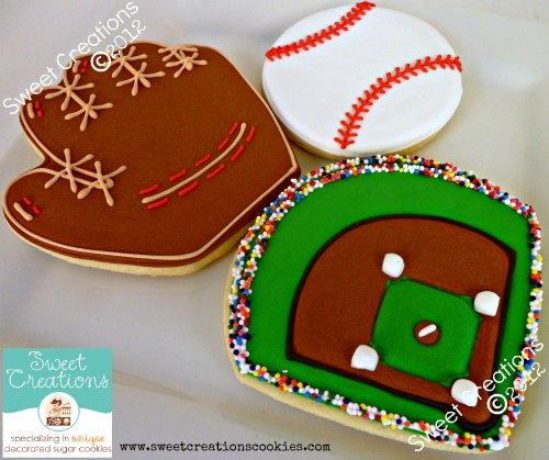 Baseball cookies by Sweet Creations Cookies