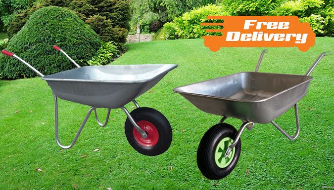 """Buy 65L Heavy Duty Wheelbarrow - Free Delivery! UK deal for just: £26.99 Get gardening with a 65L Heavy Duty Wheelbarrow      Easy grip handles make moving the barrow easy      Durable body and rust resistant frame will last a long time      12"""" inflatable pneumatic tyre handles rough terrain      Capacity of 100kg to carry heavy loads      Choose from a green rim or red rim      Easy to put..."""