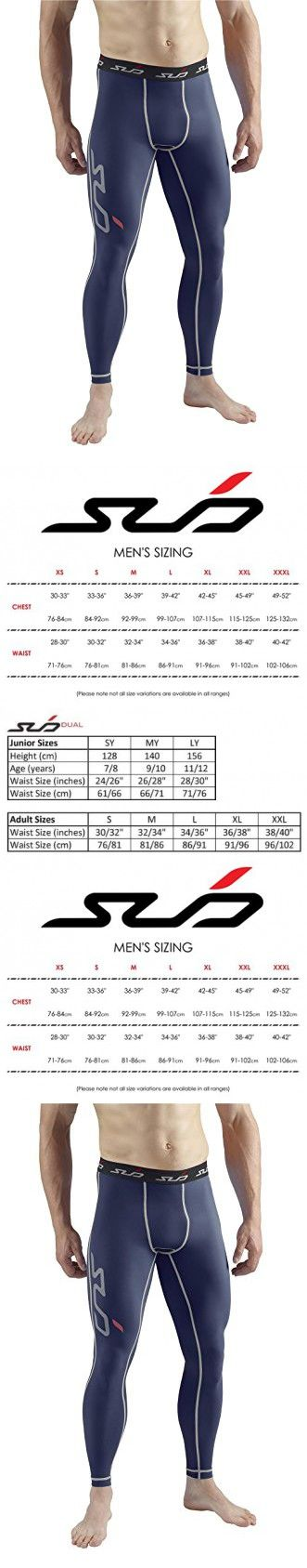 SUB Sports DUAL (All Season) Mens Compression Leggings / Pants - Base Layer Tights - Navy - XL