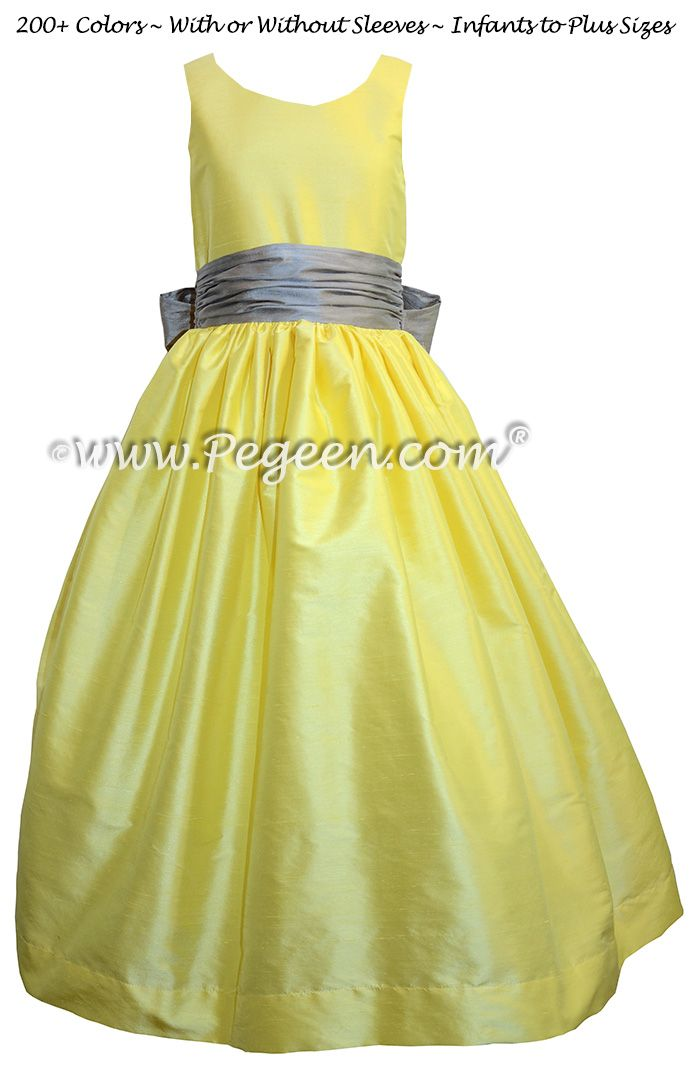 Yellow And White Silk Organza Flower Dresses
