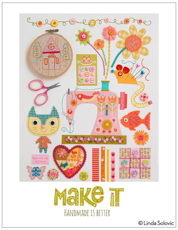 Make It Handmade Is Better Print 8.5 x 11 by Linda Solovic on Etsy