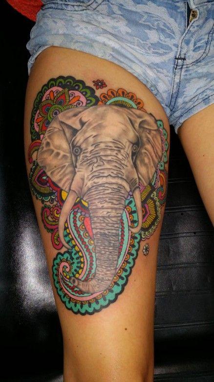 Floral elephant thigh leg tattoo