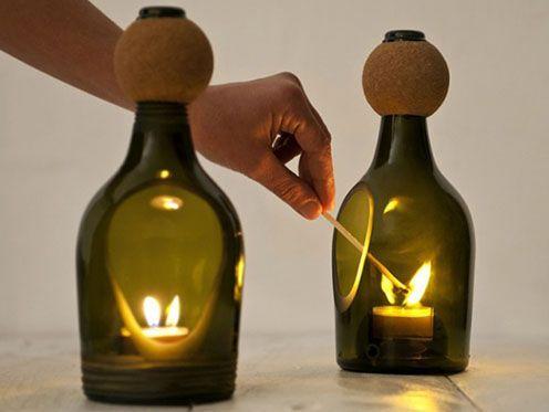 подсвечники из винных бутылок