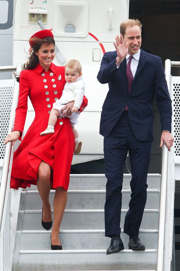 Prince George of Cambridge and Catherine, Duchess of Cambridge arrive in New Zealand at Wellington Airport on April 7, 2014 in Wellington, New Zealand. The Duke and Duchess of Cambridge are on a three-week tour of Australia and New Zealand, the first official trip overseas with their son, Prince George of Cambridge. (Photo by Danny Martindale/WireImage)