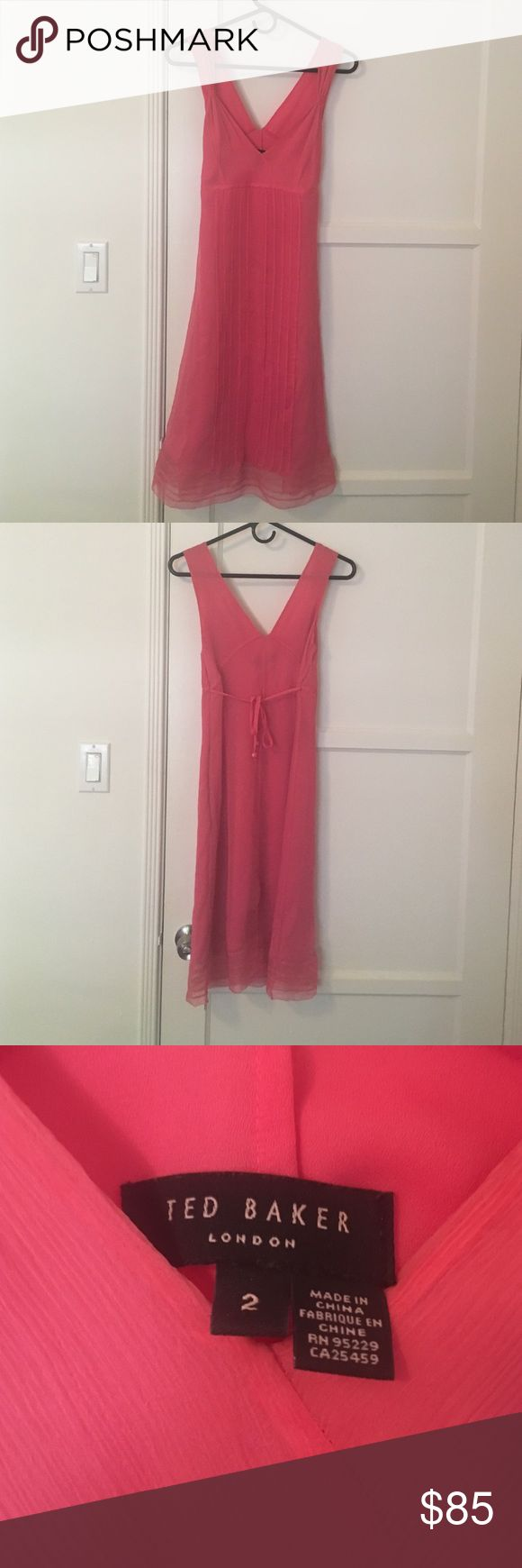 TED BAKER Pink dress - US 6 (Ted Baker size 2) TED BAKER Pink dress - US 6 (Ted Baker 2) Very pretty. Worn twice. Perfect for a summer party or a wedding Ted Baker Dresses