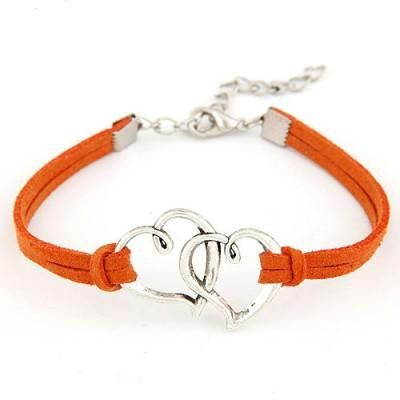 Double Heart Bracelet,Leather Bracelet,Heart Jewelry,Mothers Bracelet,Silver…