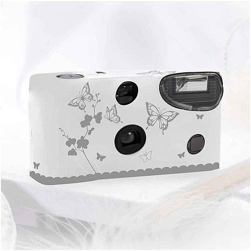 Butterfly Garden White And Silver Single Use Camera - Wedding Cameras, Disposable Wedding Cameras - Wedding Essentials - Wedding Favors & Party Supplies - Favors and Flowers