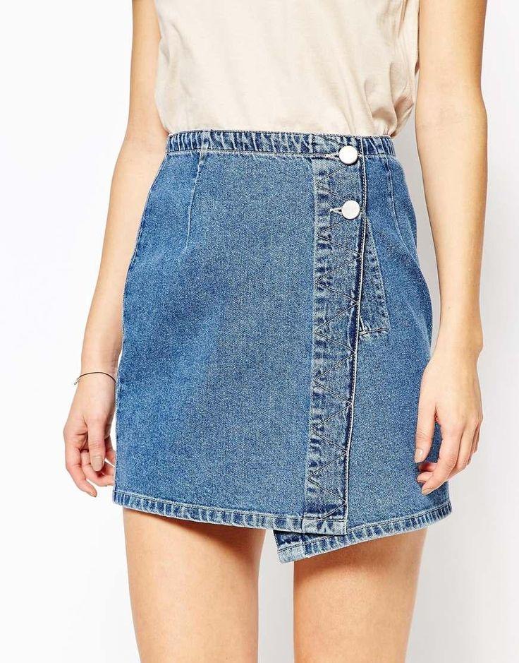 ASOS | ASOS Denim Pelmet Mini Skirt With Wrap Front In Stone Wash at ASOS