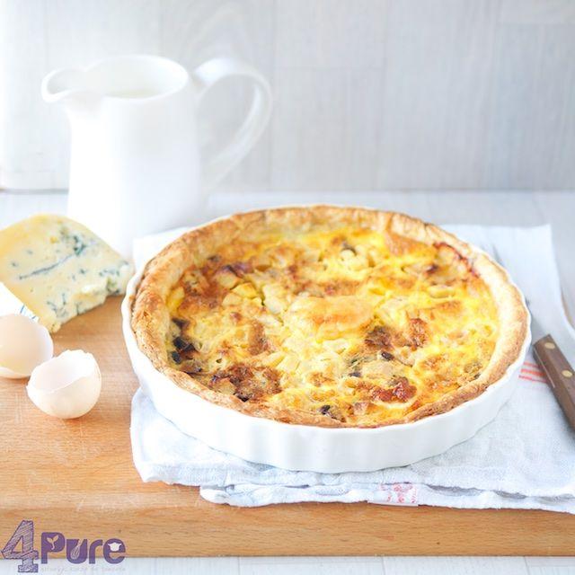 Gorgonzola apple quiche - 4Pure #recipe #gorgonzola #apple #quiche #vegetarian