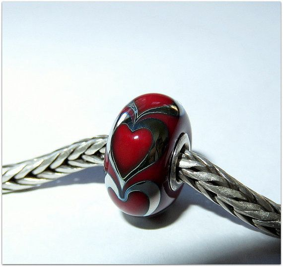 luccicare beads | Luccicare Lampwork Bead - Valentine - Lined with Sterling Silver