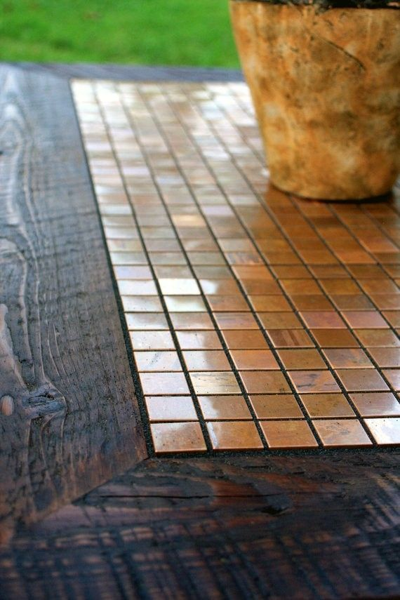 this could work in my foyer...   Coffee Table, Copper Mosaic Tile Framed with Barnwood, Dark Brown Hand Rubbed Wax Finish by Inspired by Nature