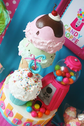 ice cream, cupcake and gumball machine cake