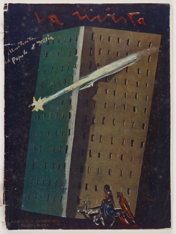 La Rivista, anno IX, n. 12 (Dicembre, 1930), front cover: [Illustration in Expressionist style of the Star of Bethlehem shooting past the facade of a modern building, with Joseph and Mary riding a donkey at the foot of the building, signed] Sironi