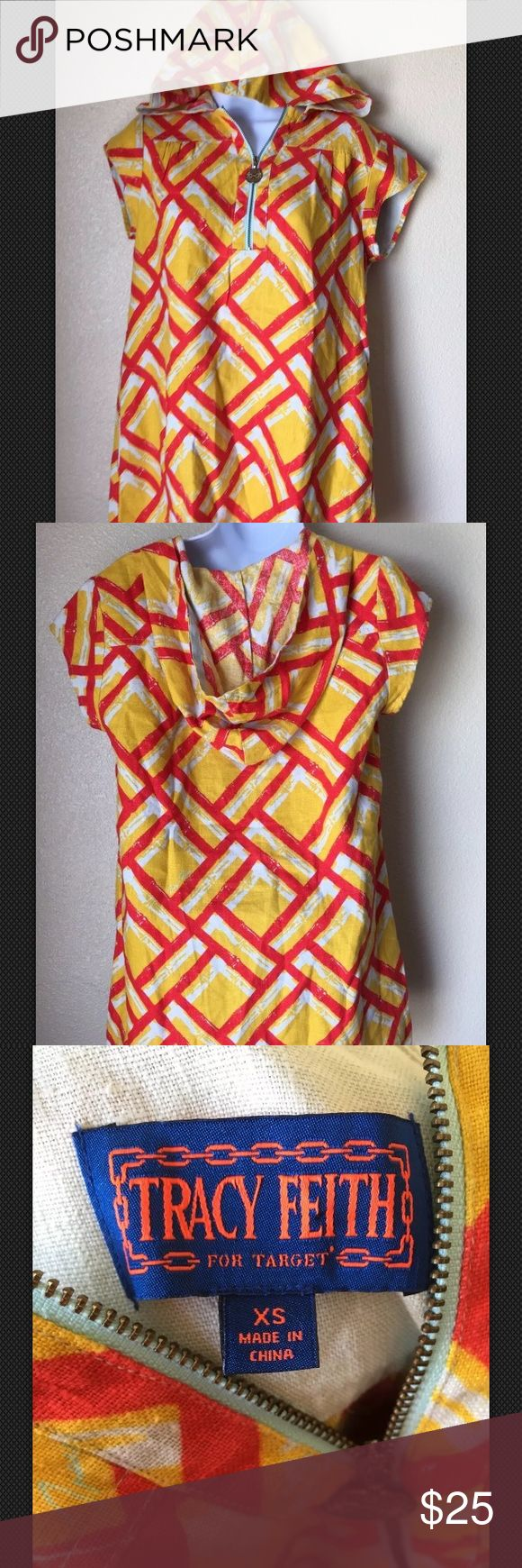 Tracy Feith for Target Linen Hooded Tunic dress XS Tracy Feith for Target Women's Linen  Yellow Red Zip-up Hooded Tunic dress Sz XS Tracy Feith Dresses Mini