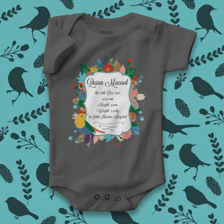 custom print baby romper, personalised baby gift, cute certification, new baby