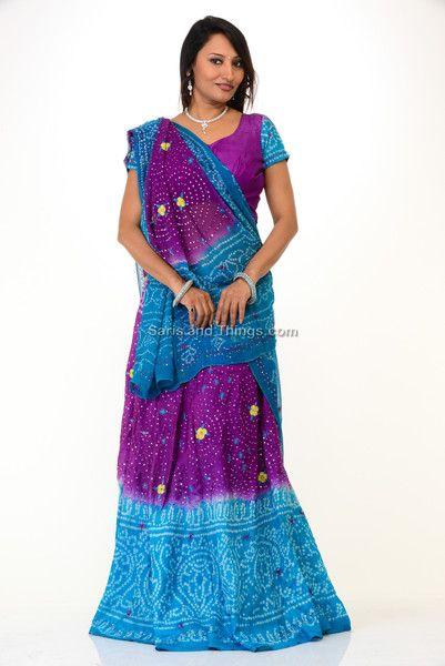 Blue Mauve Bandhej Lehenga Choli | Saris and Things