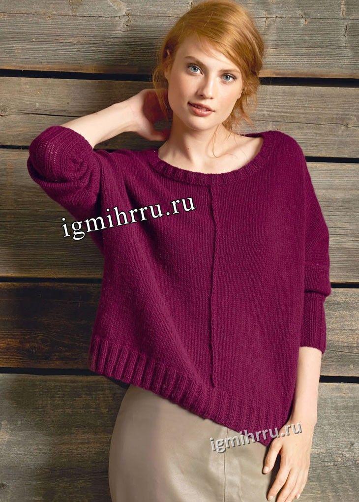 Бордовый кашемировый пуловер с внешними швами. Вязание спицами