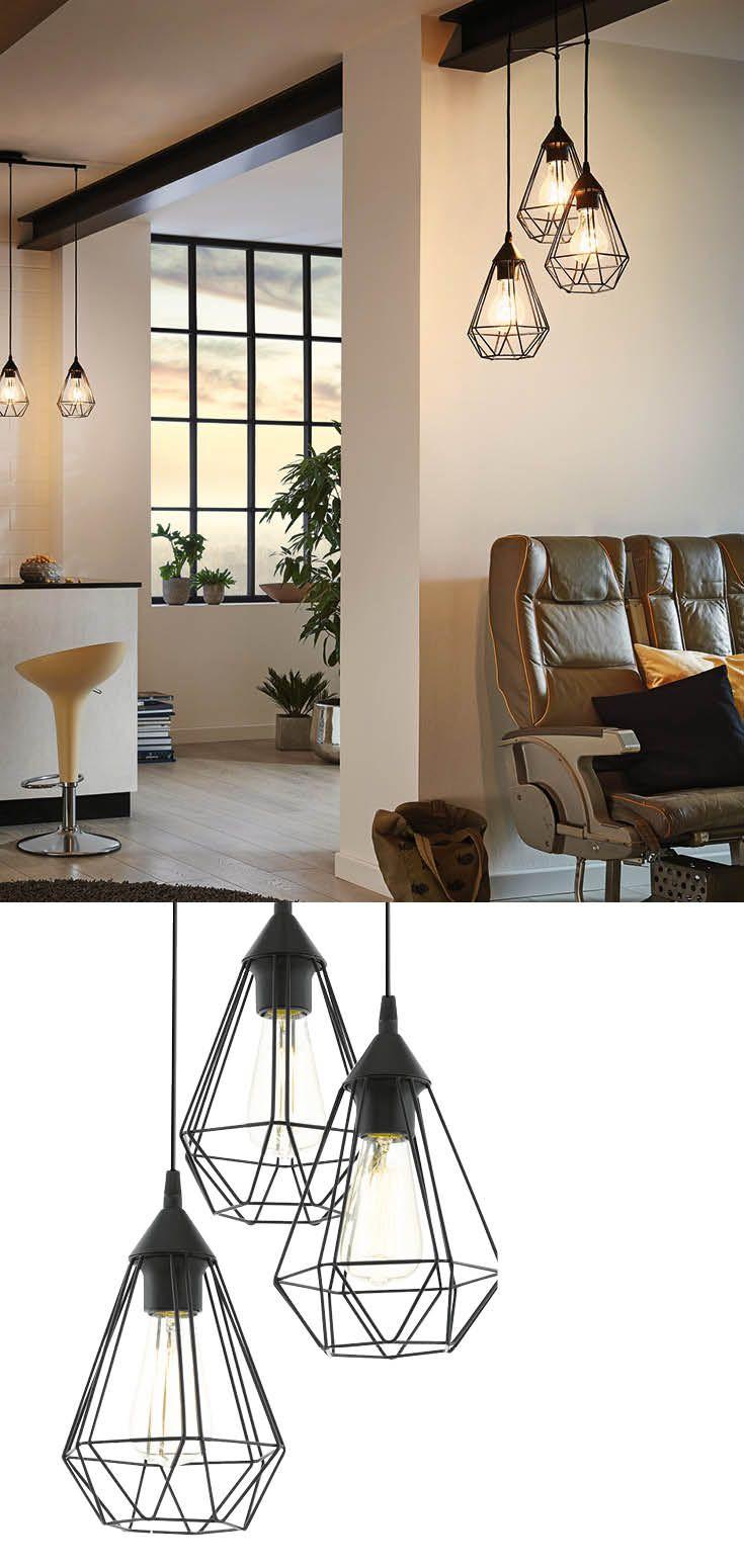 Schwarze Hngelampe Im Industrial Stil Aus Draht Und Metall Geometrischen Design Passt
