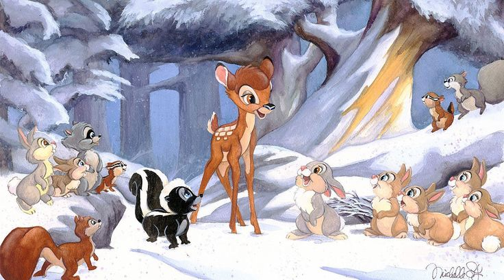 Bambi - Cold Winter Woods - Michelle St. Laurent - World-Wide-Art.com - #disney #michellestlaurent #bambi #thumper