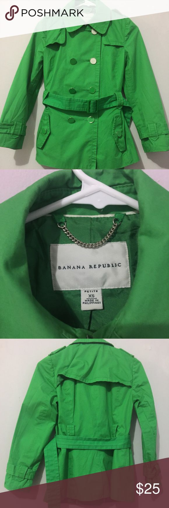 Banana republic XS petite trench coat 👒 Banana republic XS petite trench coat 👒 lightly worn the first 2 buttons of the right are missing the green circle in the middle see picture please . ❤️ any reasonable offers are welcome ❤️ Banana Republic Jackets & Coats Trench Coats
