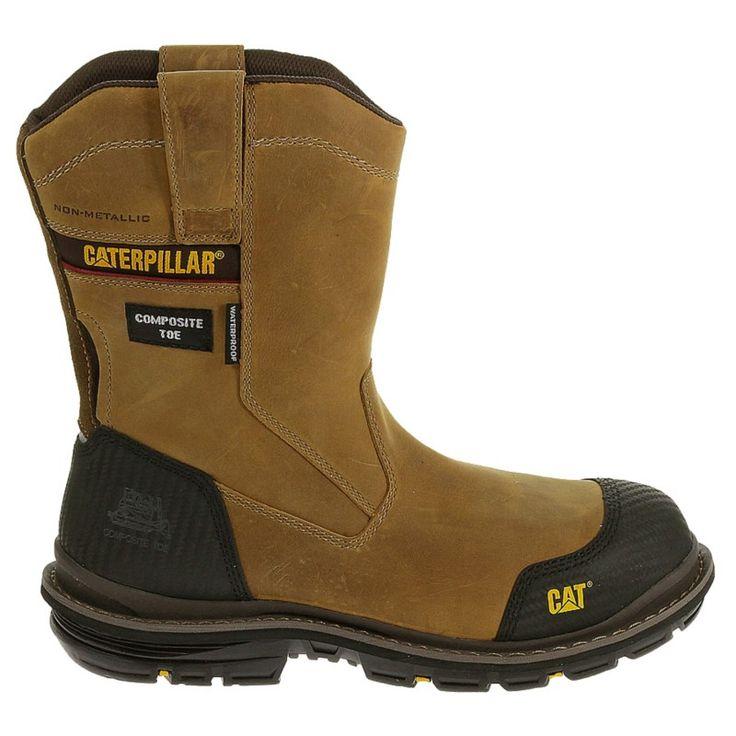 Caterpillar Men's Fabricate Waterproof Composite Toe Pull On Work Boots (Dark Beige) - 13.0 W