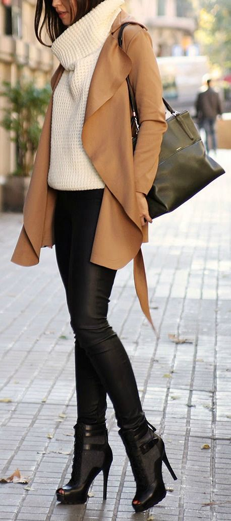 Shop this look on Lookastic: http://lookastic.com/women/looks/turtleneck-trenchcoat-tote-bag-skinny-pants-lace-up-ankle-boots/8801 — White Knit Turtleneck — Tan Suede Trenchcoat — Black Leather Tote Bag — Black Leather Skinny Pants — Black Cutout Leather Lace-up Ankle Boots