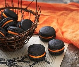 Choc Orange Halloween Macarons: These intensely coloured macarons make a great Halloween treat – wickedly delicious with just a hint of liqueur.