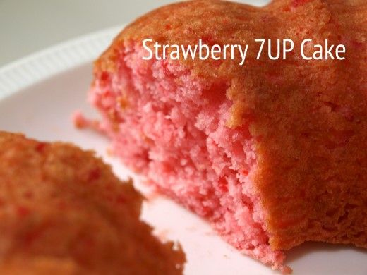 This cake was made with a box of strawberry cake mix and a 12 oz can of diet 7UP.