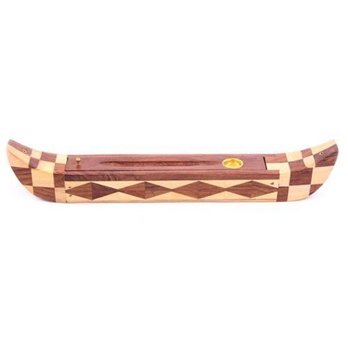 Egyptian Boat Incense Holder and Burner - This wooden incense burner is crafted in the shape of an Egyptian boat in a composition of dark and light wood making it a fantastic decoration.
