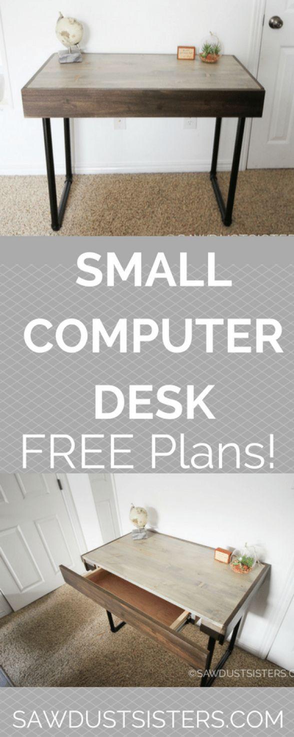 Bauen Sie einen kleinen Computertisch mit einer versteckten Schublade und Rohrbeinen. Einfacher Anfänger …