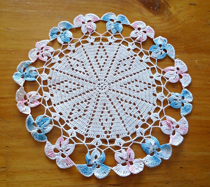 Crocheted Doily Pink Blue Violets Vintage Doilies Doily G11 by TreasureCoveAlly on Etsy