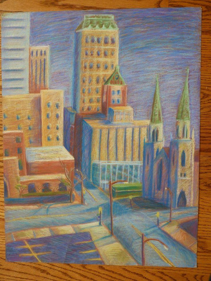 """""""Morning Light"""" Pastel Down Town Tulsa"""