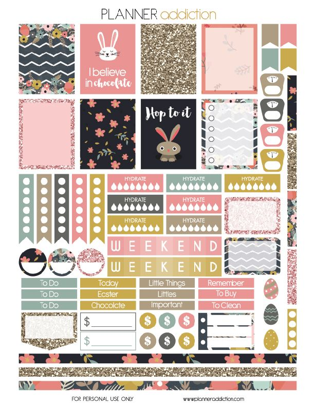 Easter is coming this week!! I can't wait to do activities and eating chocolate with my children.. But in the meantime why not schedule the week of Easter. This is a free printable planner stickers fo