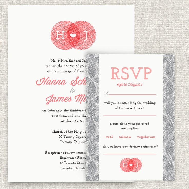 Scribble - coral and grey wedding invitation with floral pattern