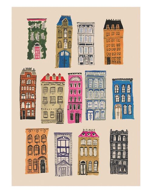Image via We Heart It #artsy #building #colorful #girl #home #house #illustration #rainbow