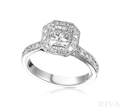 Square Diamond Engagement Ring Bezel Set with Pave Halo