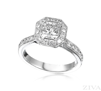 Square Diamond Engagement Ring Bezel Set with Pave Halo