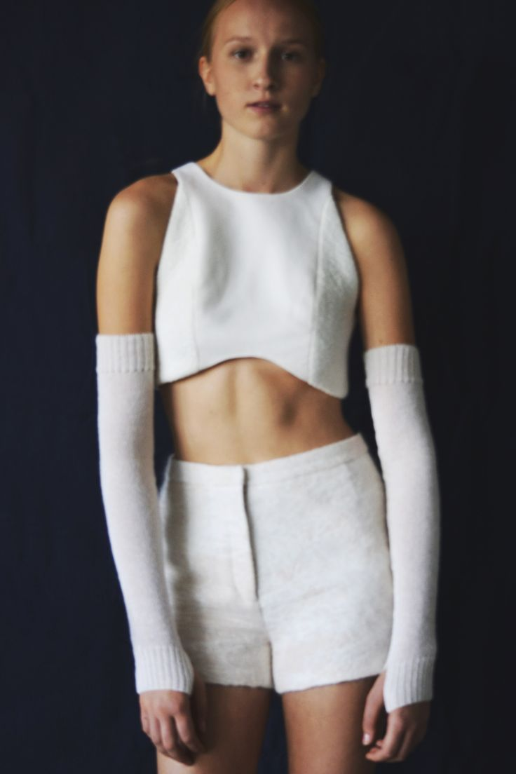 Anni Lehtosalo BA Graduate Collection. Photography: Sara Riikonen.   #mohair #shorts #cropped top