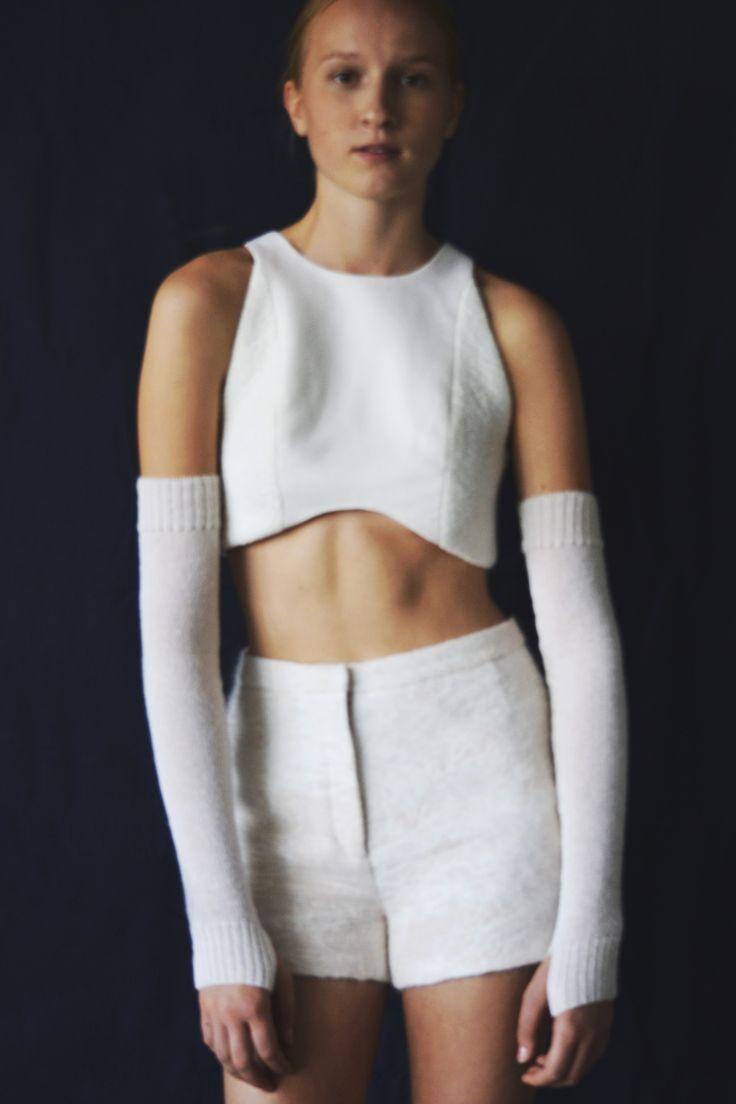 Anni Lehtosalo BA Graduate Collection. Photography: Sara Riikonen.   #mohair #shorts #cropped top