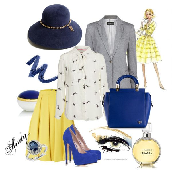 """Yellow-blue chic"" by andyts on Polyvore"