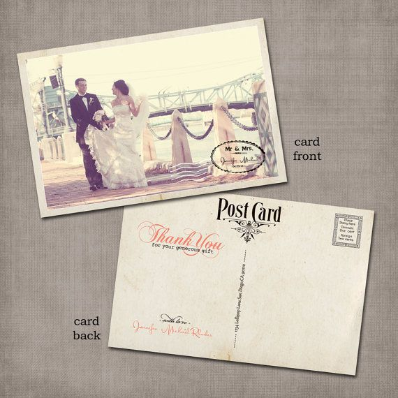 Vintage Wedding Postcard Thank You Cards - LOOVE this!